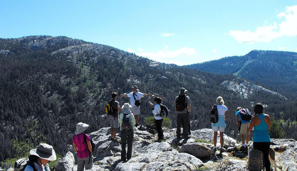 Members enjoy a hike in the high sierra, 2017