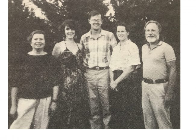 First elected FC board, 1990; L-R: Susan Bragstad, Heidi Boitano, Dr. Bob Hartmann, Katherine Evatt, Hans Atmann. Not pictured: Brian Jobson and Ken Berry.